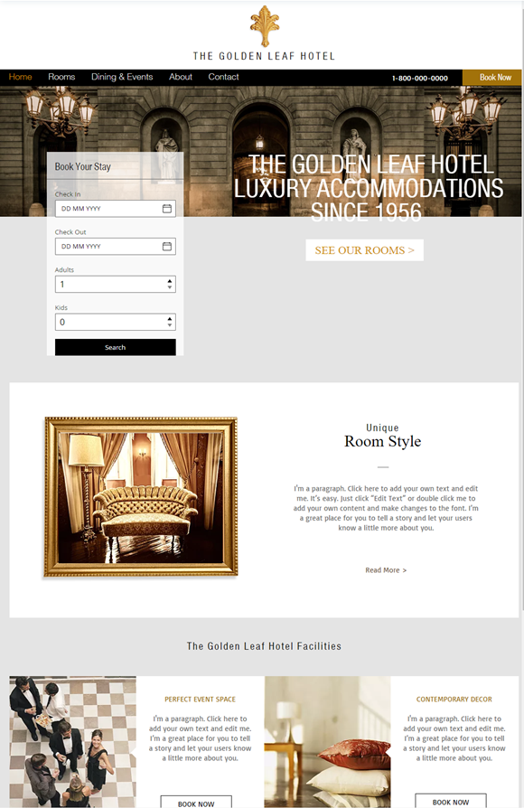 旅館・ホテルのホームページデザイン例5