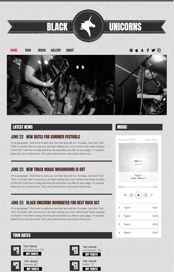 バンドのホームページデザイン例6